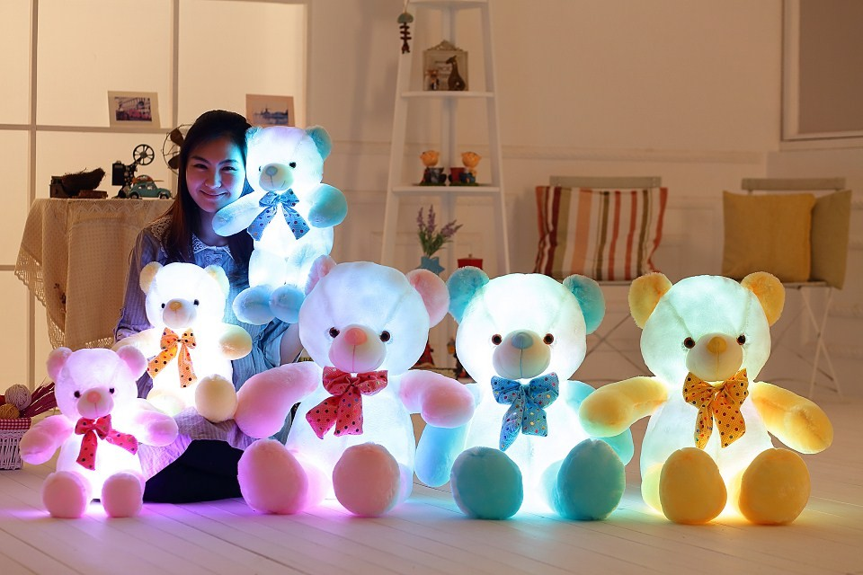 Colorful Led Teddy Bear Luminous Plush Toys Kawaii Glowing Stuffed Animals Dolls Night Light Cute For Kids