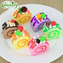 Artificial cake egg rolls jam model PU dessert props home accessories
