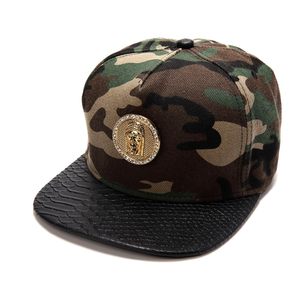 2016 Vogue Bling Golden Rhinestone Jesus piece Baseball Caps Men Women Golf Straight Gorras Diamond Gifts Snapback hip hop hats