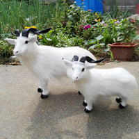simulation goat model toy furry fur white sheep , goat craft toy decoration toy gift a2093