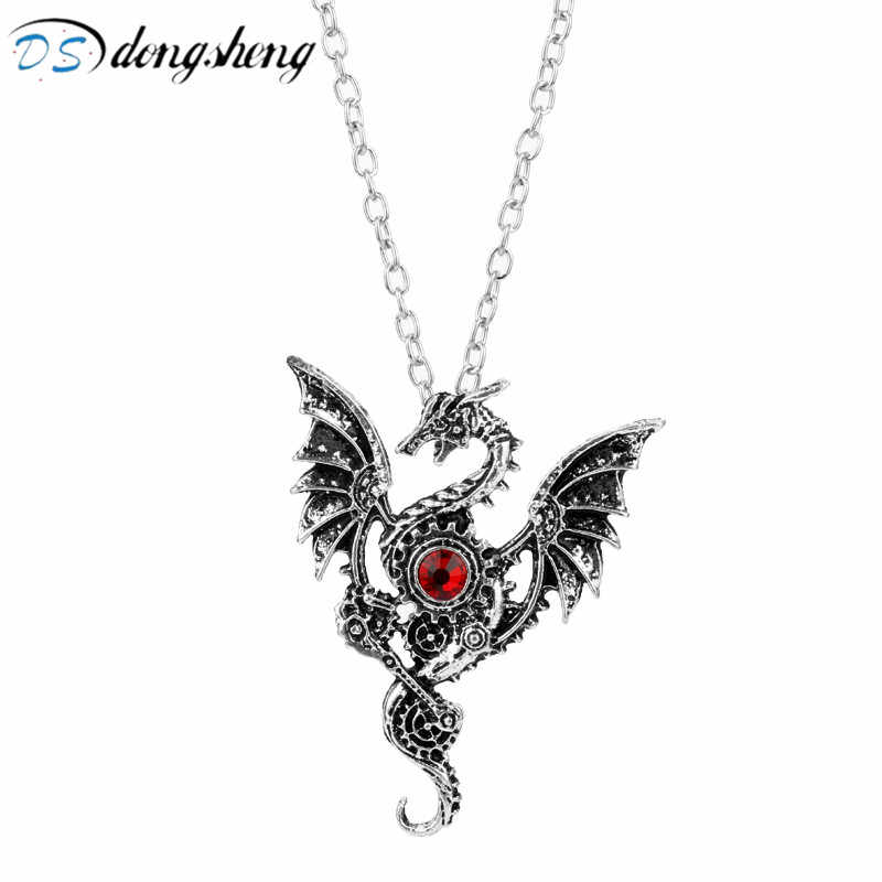 dongsheng 2018 New Necklace Dragon Wings Choker Crystal Charms Dragon Vintage Gothic Accessories Jewelry for Women Men-30