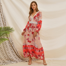 CUERLY Women Long Sleeve Maxi Dresses Boho Ethnic Pink Loose Print Floral Female Frill Hem Pleated Plus Size Beach Long Dress недорого