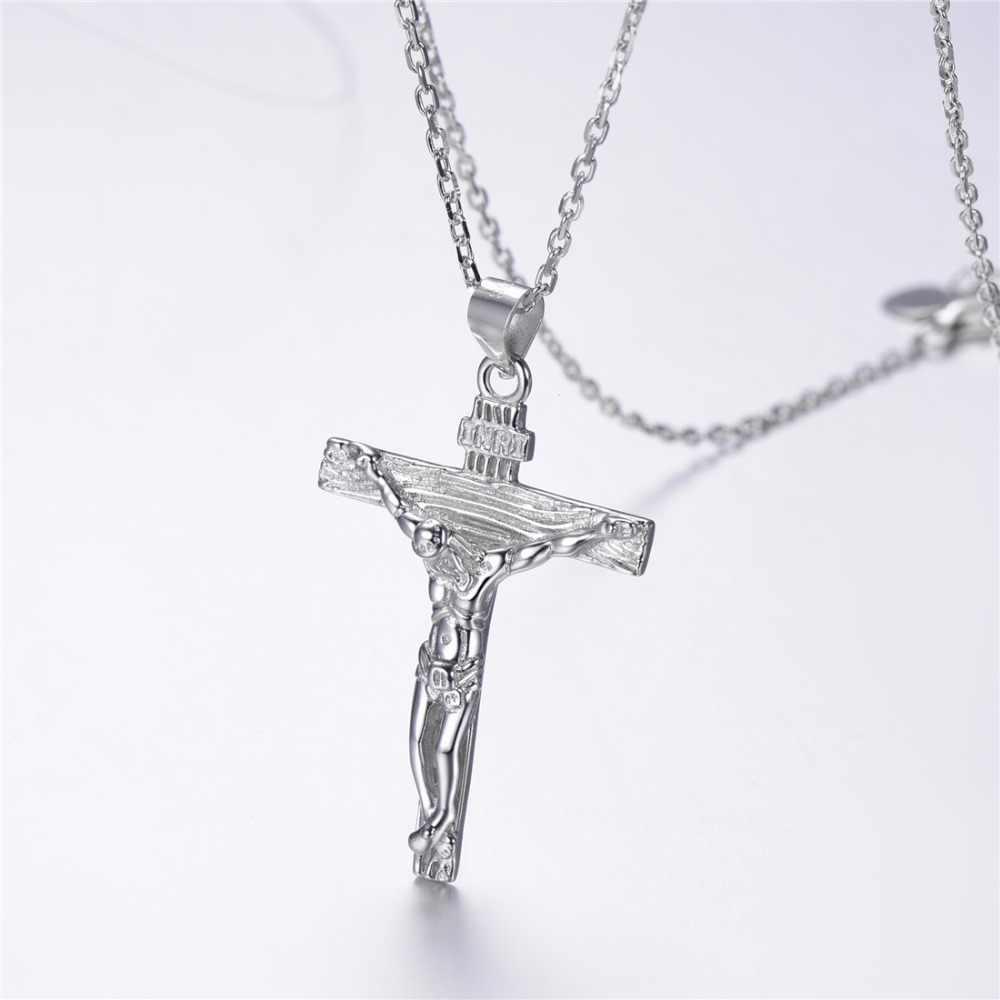 Silvercute Solid 925 Sterling Silver Salib Yesus Cross Kalung Unisex Klasik Gereja Ortodoks Agama Perhiasan SCP6348B