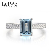 Leige Jewelry Wedding Ring Natural Aquamarine Ring Blue Gemstone March Birthstone 925 Sterling Silver Ring Solitaire Ring Gifts