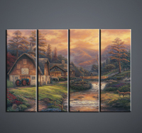 Thomas Kinkade Canvas Art Wall Pictures For Living Room 4 Combinations Posters High Definition Inkjet Ornament