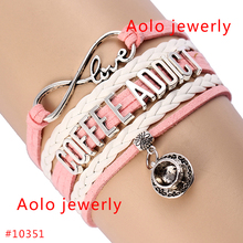 6Pcs/Lot Coffee Addict Infinity Bracelet With Coffee Cup Charms Pink & White Leather Bracelet Customized Bracelet Free Shipping!(China)