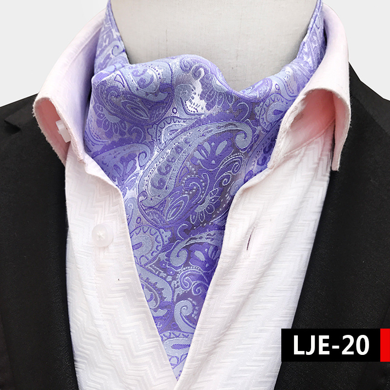 Luxury Men Vintage Paisley Plaid  Dot Wedding Formal Cravat Ascot Ties