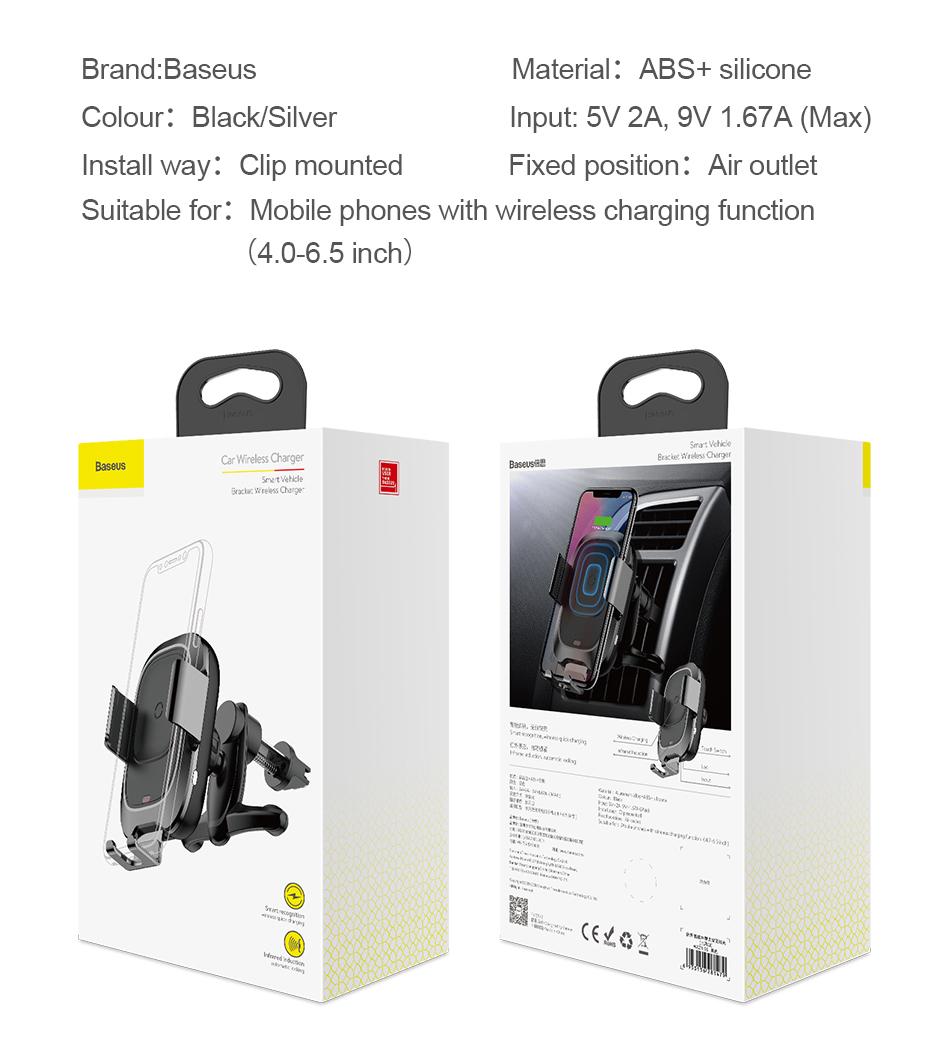 HTB1E6SBXdzvK1RkSnfoq6zMwVXac - Baseus Qi Car Wireless Charger For iPhone Xs Max XR X Samsung Intelligent Infrared Sensor Fast Wirless Charging Car Phone Holder