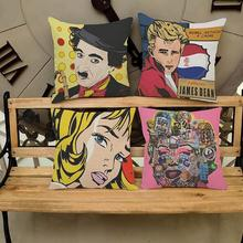Nueva Creativa Moderna Monroe Hepburn Pop Art impresión funda de Cojín de algodón de Lino Square Funda de Almohada 45*45 cm Hogar producto textil