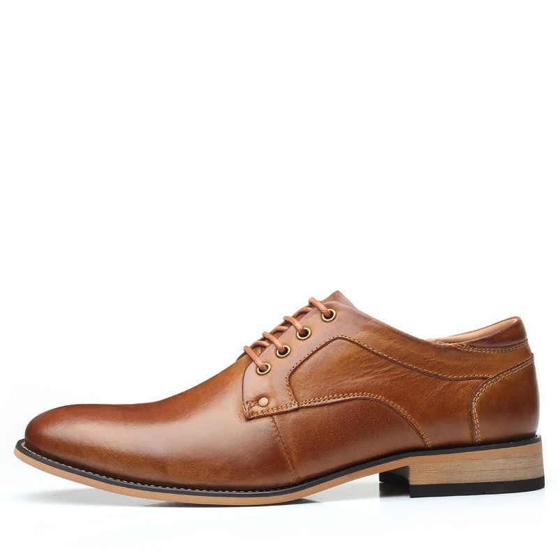 2019 mannen Echt Lederen Schoenen Extra Grootte 11 12 13 Top Head Leather Brand Dress Schoenen Europa Amerika Stijl man Business Schoenen