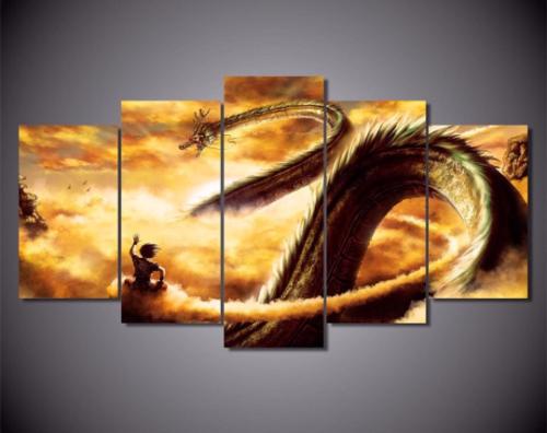 5 panneau Dragon Ball Z Goku Shenron Anime toile Art mural (sans cadre)