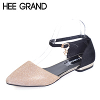 HEE GRAND Gold Flat Sandals 2017 Summer Platform Flats Slip On Shoes Woman Casual Pointed Toe