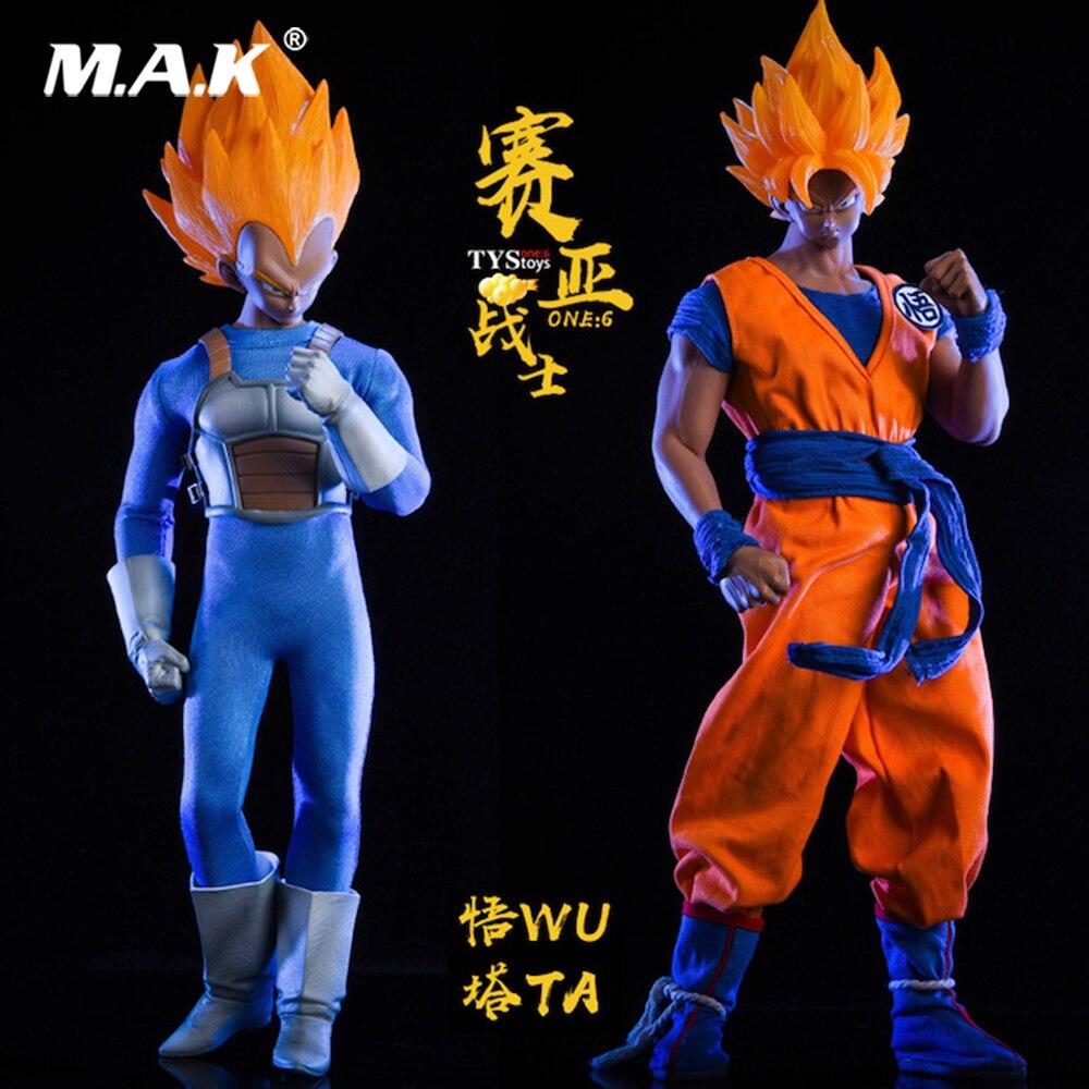 Pour Collection 1/6 japonais Anime Dragon Ball Saiyan guerrier fils Goku/végéta tête vêtements ensemble pour M30 M33/M35 figurine