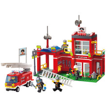 Enlighten 910 Fire Rescue Truck Control Branch Bureau Firemen Building Blocks kit Bricks Educational Toys for Children Gift