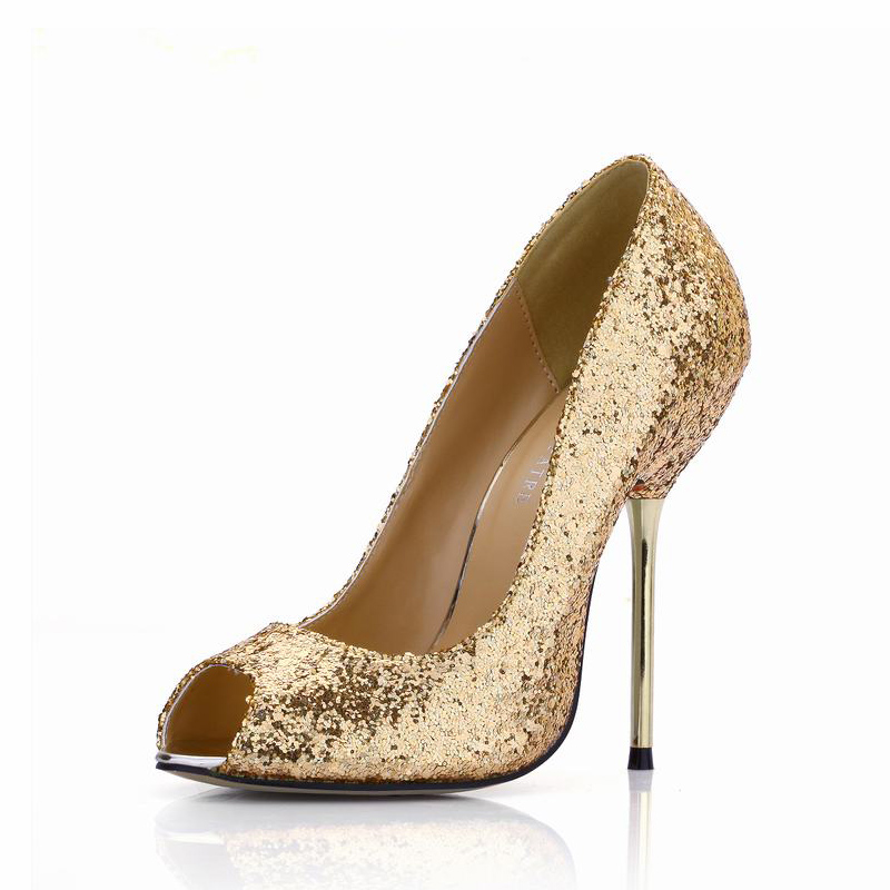 High Heels Women Pumps Shoes Woman Zapatos Mujer Tacon Tenis Sapato Feminino  Peep Toe Sequins Ladies Party Club Wedding Shoes ccc8b5715e56