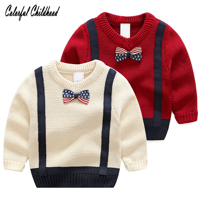 d64170bf5 Children Baby Boys Sweater bowknot tie design cozy pullovers Cottons ...