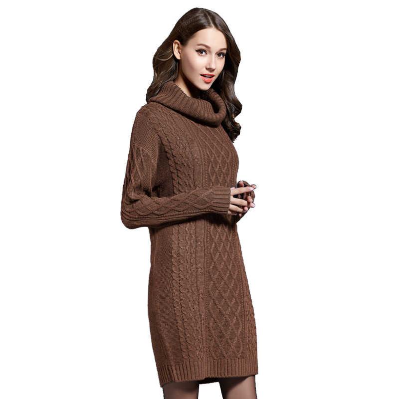 Осенне-зимний женский свитер 2019, повседневный винтажный однотонный теплый черный свитер с высоким воротом, женский вязаный свитер большого размера с длинным рукавом