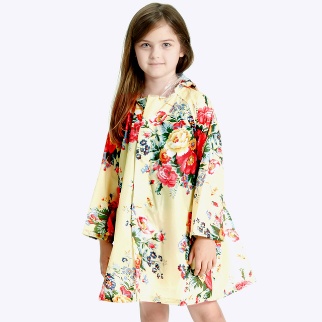 c56a5d8dc Lovely Big Flower Children Raincoat Girls Poncho Baby Waterproof Poncho Rain  Coat Girls Long Raincoat For