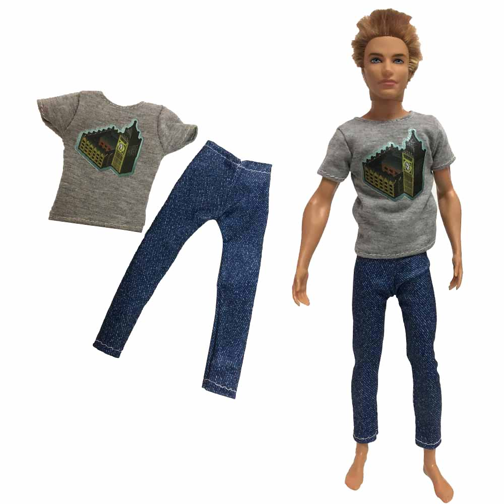 NK 2020 One Set Of Boy Doll Suit Clothes Casual Handsome  Doll Clothes Pants For Barbie Doll Ken Children's Gifts 093A