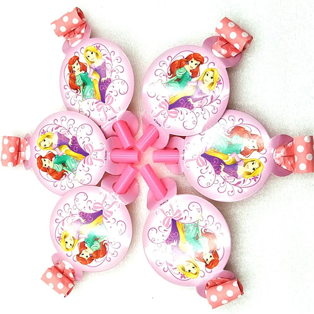 6pcs/lot Disney Princess Noise Maker/Blowout Cartoon Theme Party For Kids Birthday Decoration Theme Party Supplies Festival Pink