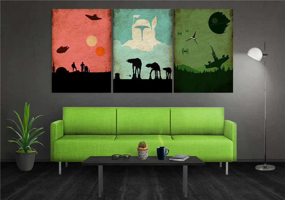 Star Wars Trilogy Poster Set 1 Panel Wall Art Oil Painting Poster Canvas Painting Print Pictures for Living Room Home Decor
