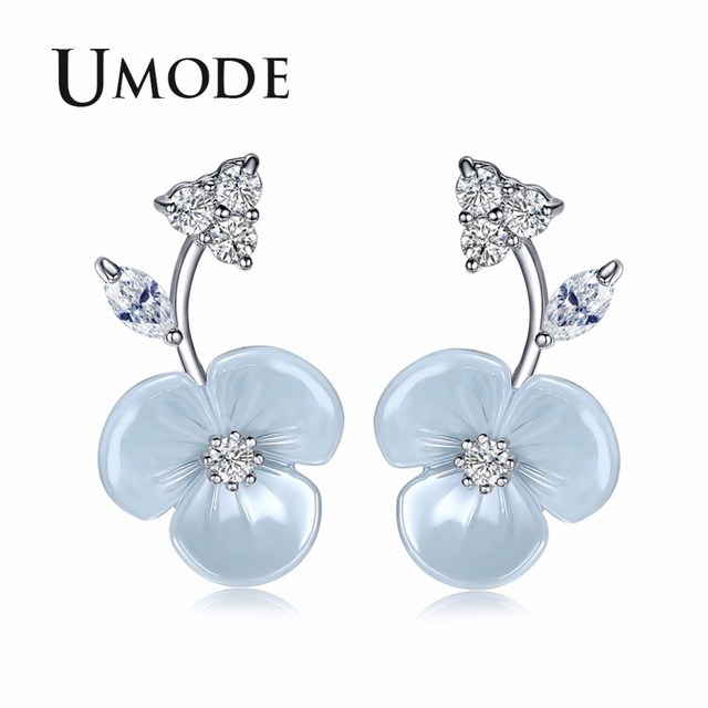 UMODE Cute Flower Studs Earrings for Women CZ Female Trendy Modern Wedding Jewelry Accessories pendientes mujer moda UE0371