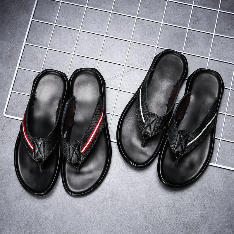 Mannen koe lederen slippers slippers buiten zwart mode Leisure mens schoenen Luxe Strand Flat Met Casual 2019 sandalen - 4
