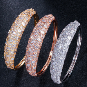 Image 2 - CWWZircons Luxury Cubic Zirconia Rose Gold Color Women Wedding Party Bangle Bracelet and Rings Sets Bridal Costume Jewelry T324