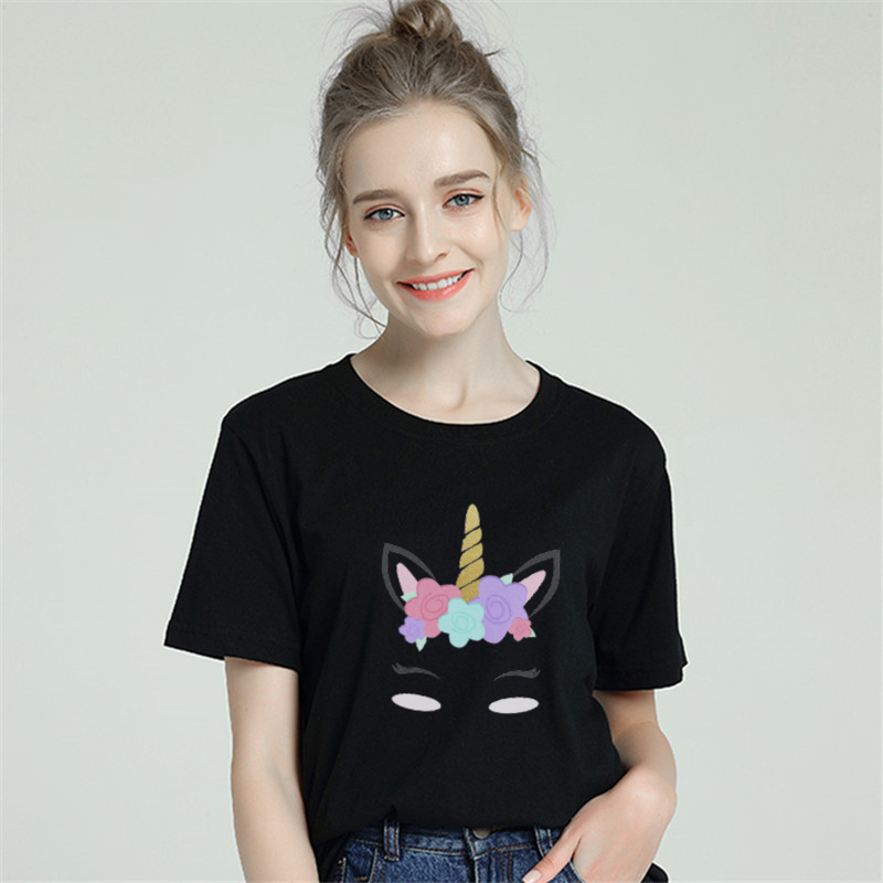 Unicorn Eyelash Harajuku T shirt Women Cotton 2019 Summer T-shirt Female Short Sleeve Plus Size White Tshirt Tumblr Tops & Tees