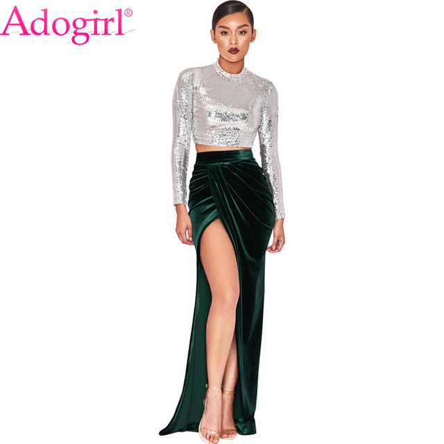2547f88b197b1 Adogirl 2018 New Velvet Maxi Skirt High Waist High Slit Ruched Long Evening  Party Skirts Women Fashion Sexy Faldas Petticoat