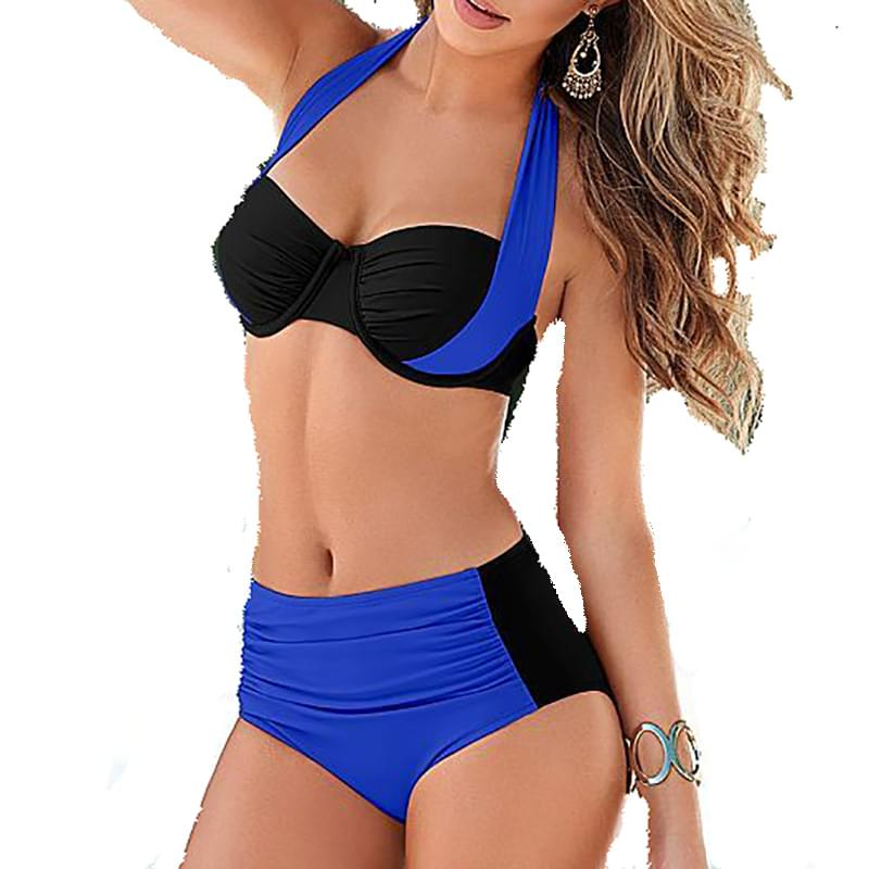 2017  New Sexy Bikinis Women Swimsuit High Waisted Bathing Suits Swim Halter Top Push Up Bikini Set Beach Plus Size Swimwear 2017 new sexy women swimsuit plus large size tassel halter top bikini set summer push up beach swimwear swim bathing suits