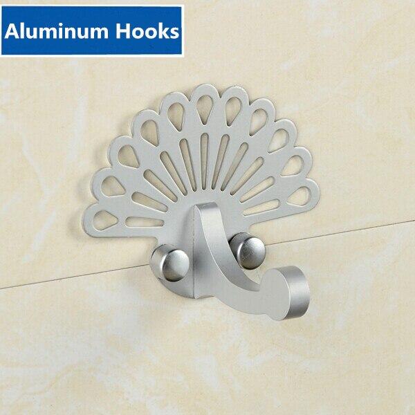 Creatieve Mode Aluminium Haken Zilveren Kleding Tas Cap Haken Muur