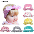 Newborn Baby Kids Imprimir Estrella Dot Orejas de Conejo Diadema Turbante de Algodón del bebé Del Nudo Del Arco de Headwear HairBand Del Pelo Accesorios TWDVS T11