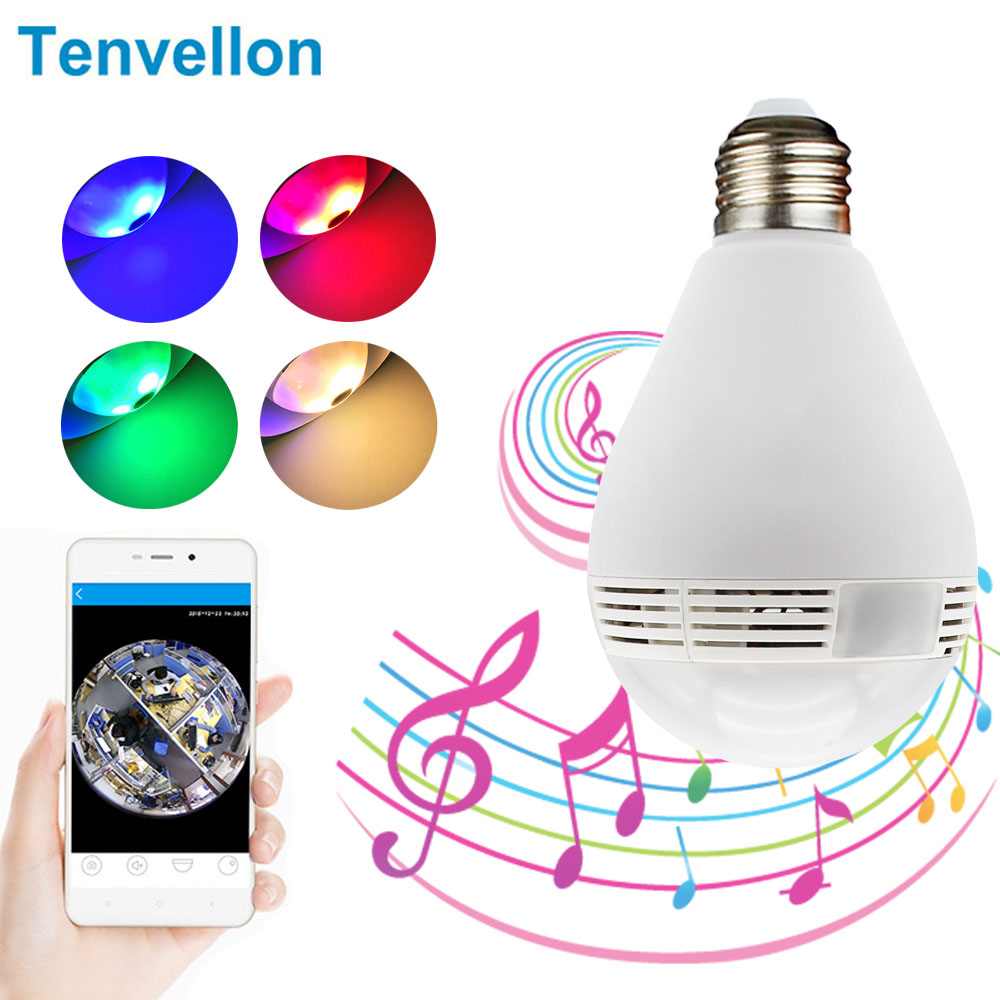 V380 Wifi 360 Camera And Bluetooth Speaker Function Colorful Party Light Bulb Home Security CCTV Cameras