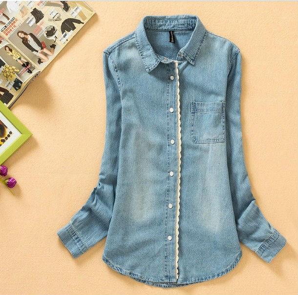 883748e4f New Women Girl Fashion Sweet Denim Casual Shirt Retro Lace Slim Fit Long  Sleeve Blue Jean