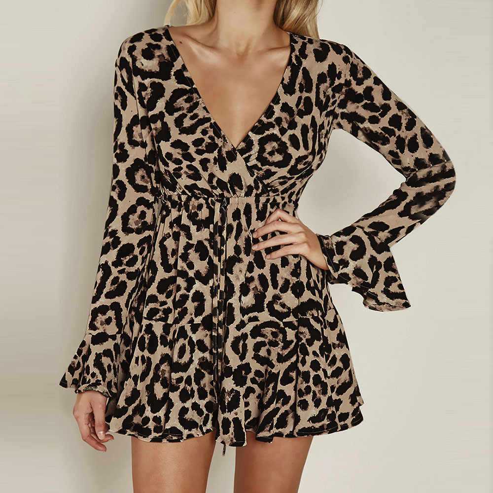 Leopard Print Mini Dress Women Flare Sleeve V-Neck Sexy Mini Dresses Long Sleeve Ruffle Trim Party Dress #RN