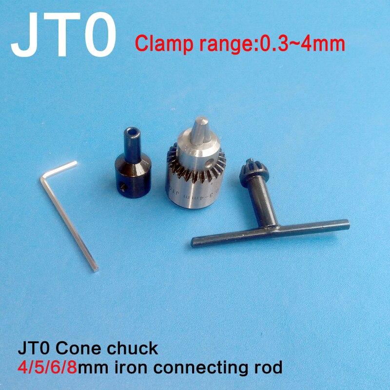 Horlogers Perceuse Électrique Chuck 0.3-4mm Jt0 Mini Mandrin Clé Kit Avec 4mm/5mm/6mm/8mm Arbre Du Moteur Coupleur Tige