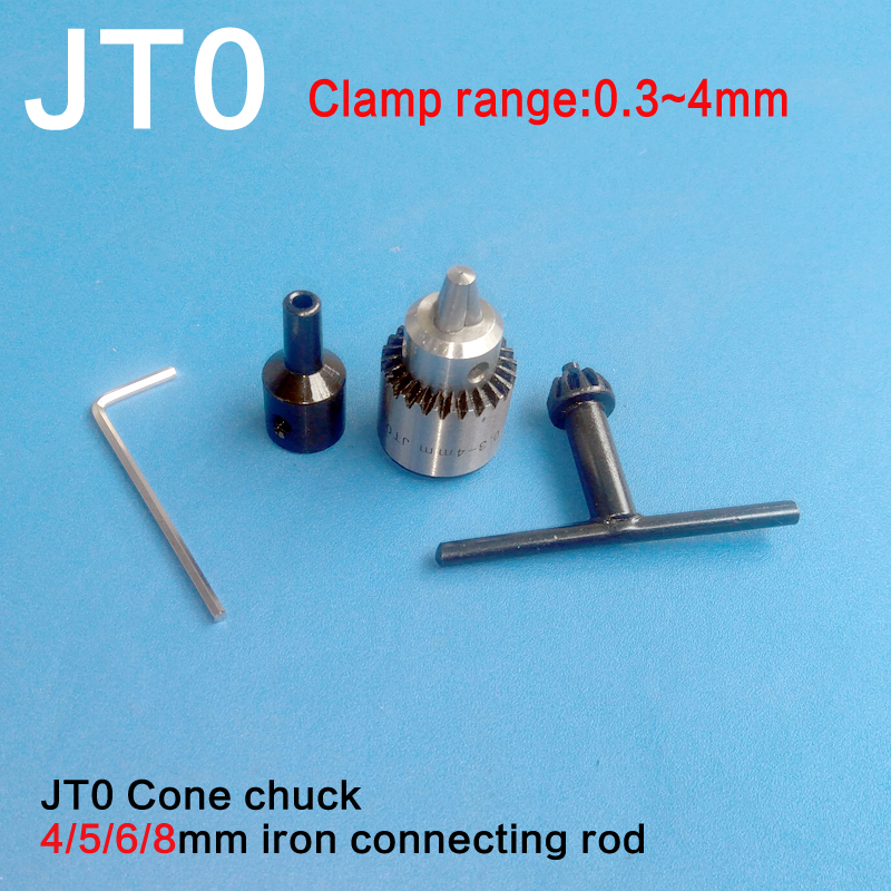 Watchmakers Electric Drill Chuck 0.3-4mm Jt0 Mini Drill Chuck Key Kit With 4mm/5mm/6mm/8mm Motor Shaft Coupler Rod