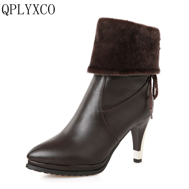 QPLYXCO New big &small size 28-52 Russian Ladies short boots Women Fashion Warm Winter Shoes high hells snow boots HQ282 x13 big size new 2014 short women furry snow boots new ladies fashion women botines mujer shoes winter warm ankle boots