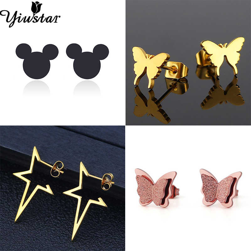 Yiustar Samll Mickey Tiny Earrings Christmas Earrings Gifts for Kids Cute Stainless Steel Stud Earrings Everybody Minimalist Ear