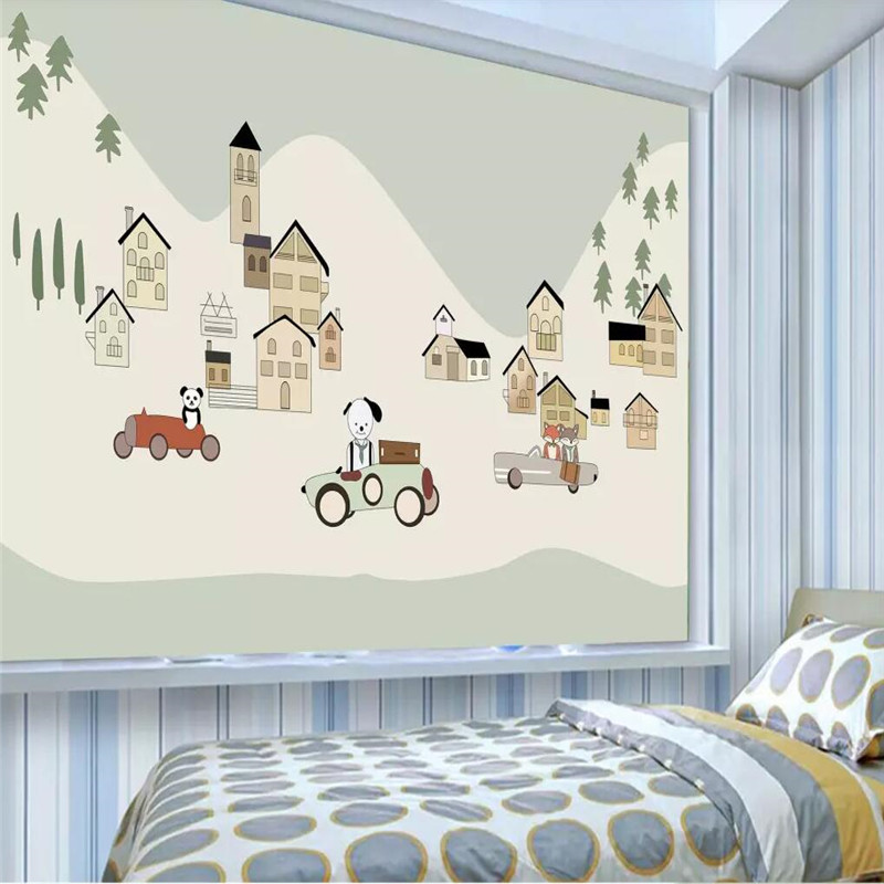 Cartoon animal park children 39 s room background wall professional production mural wallpaper wholesale custom photo wall in Fabric amp Textile Wallcoverings from Home Improvement