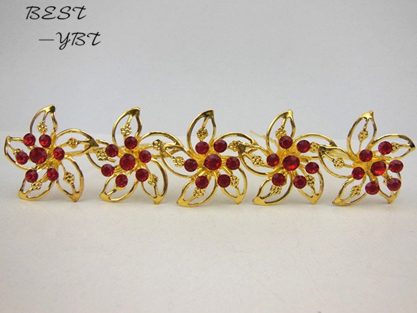 50 Pcs/lot Wedding Bridal Gold Windmill Red Rhinestone Crystal Women Hair Pins