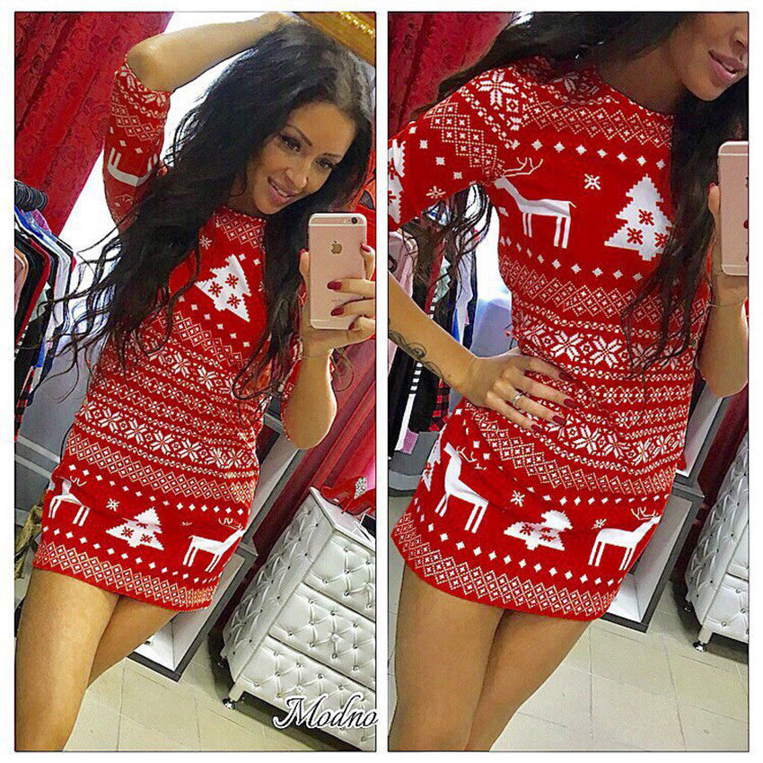 Mini Desses 2019 New Year Fashion Women Casual Christmas Deer Printed Floral Mini Dress Three Quarter O-neck Sexy Party Dress