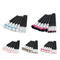 Mezerdoo 5 Styles Soft Cosmetic Makeup Brush Set Professional Pincel Maquiagem 10 Pcs Black Silver Kabuki