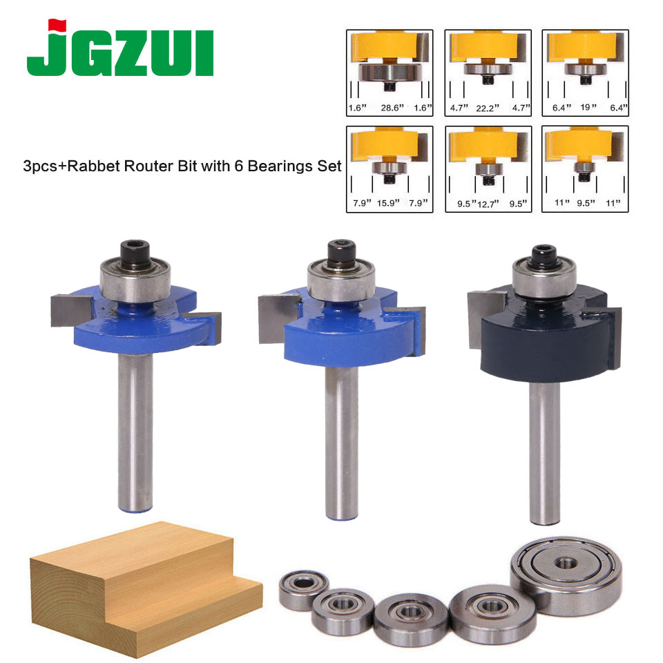 "3pcs Rabbet Router Bit With 6 Bearings Set -1/2""H - 1/4"" Shank Woodworking Cutter Tenon Cutter For Woodworking Tools"