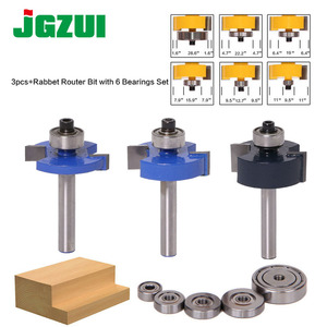 """Image 1 - 3pcs Rabbet Router Bit with 6 Bearings Set  1/2""""H   1/4"""" Shank Woodworking cutter Tenon Cutter for Woodworking Tools"""