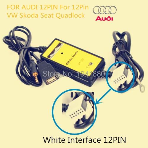 imágenes para Venta caliente Coche reproductor de Mp3 Del Coche aux USB interfaz de música música cambio de máquina de CD Para VW Skoda Asiento Quadlock 12Pin Interfaz Blanco
