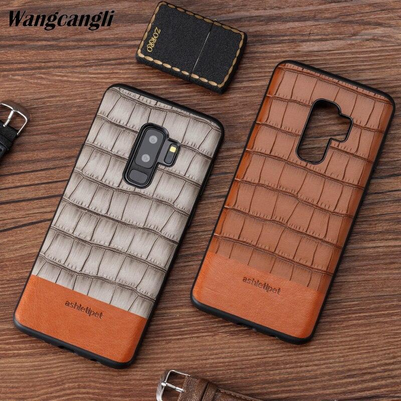 Étui de téléphone portable haut de gamme en cuir de vachette véritable couture en bambou étui de téléphone portable tout compris pour Samsung 9 étui en cuir