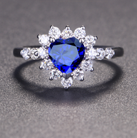 1 carat 925 sterling silver man made diamond ring tanzanite ring sapphire heart shaped wedding jewelry US size from 4.5 to9 (LA)