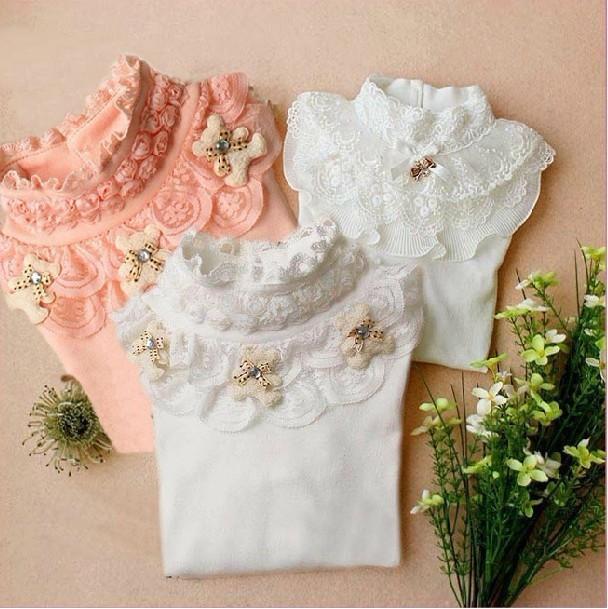 Venda quente Crianças Meninas outono encabeça a roupa Dos Miúdos meninas rendas camisola de gola alta Assentamento Camisa das meninas Da Forma